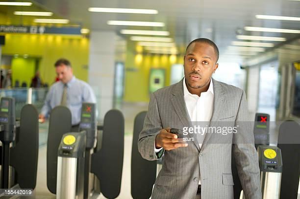 subway commuter businessman