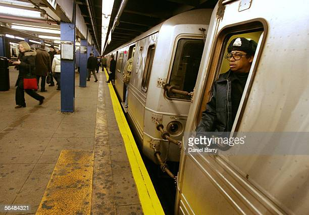 A subway conductor waits for passengers December 23 2005 in New York City After three days of strikes New York City subways and buses returned to...
