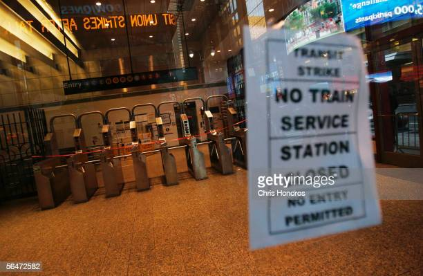 A subway entrance and turnstiles in Times Square are closed December 20 2005 in New York City Subways and buses around New York ground to a halt as...