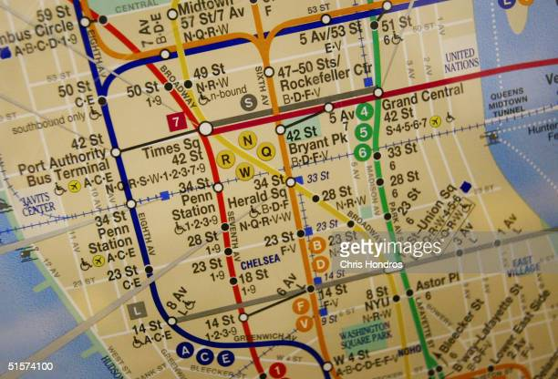 A subway map is hangs in a subway car October 26 2004 in New York City The New York City subway system opened 100 years ago on October 27 when the...