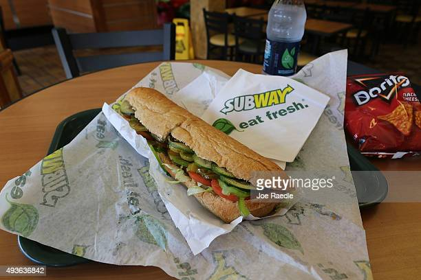 Subway sandwich is seen in a restaurant as the company announced a settlement over a classaction lawsuit that alleged that Subway engaged in...