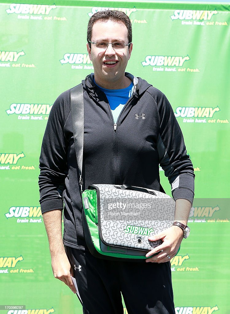 Subway spokesman <a gi-track='captionPersonalityLinkClicked' href=/galleries/search?phrase=Jared+Fogle&family=editorial&specificpeople=4340917 ng-click='$event.stopPropagation()'>Jared Fogle</a> attends the limited edition SUBWAY bag unveiling with Apolo Ohno at Clinton Cove At Pier 96 on June 12, 2013 in New York City.