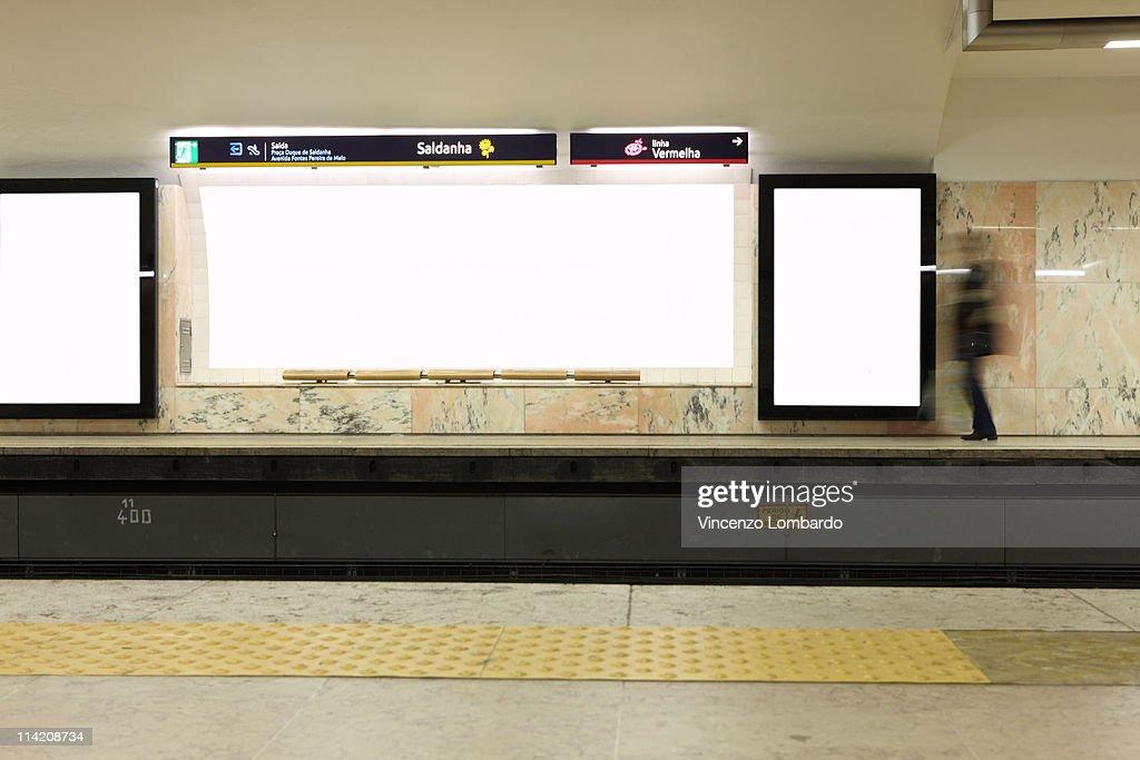 Subway Station, Blank Billboard : Stock Photo