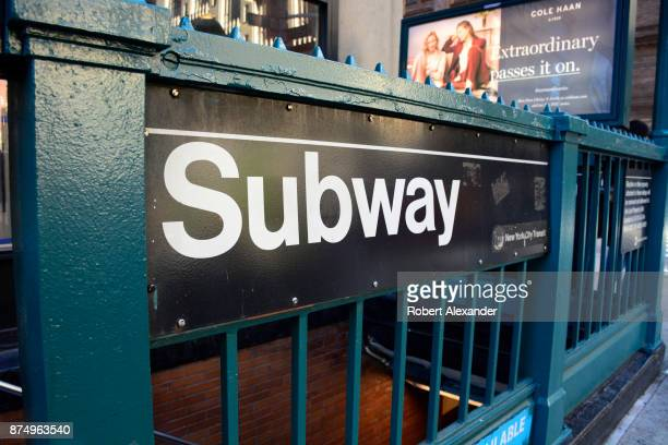 A subway station entrance in New York New York