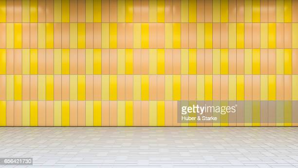 subway station with colourful wall