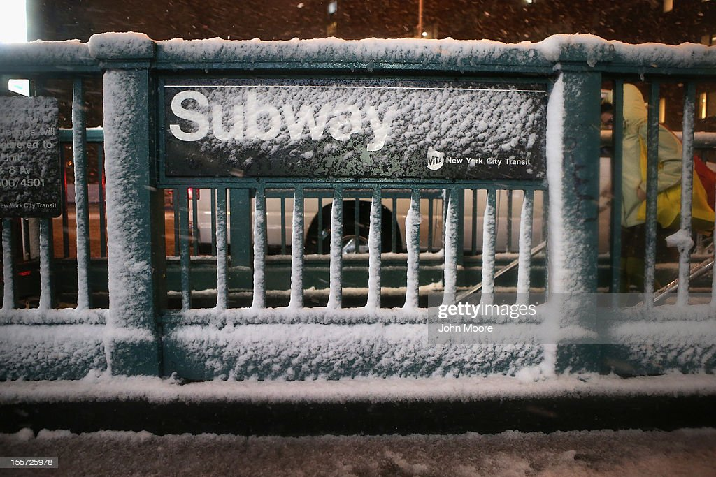 A subway stop stands snow-covered at Union Square on November 7, 2012 in New York City. The city was hit by a Nor'Easter storm, just ten days after Superstorm Sandy ravaged the tri-state area.