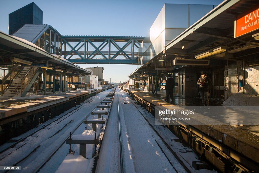 Subway tracks remain blanketed with snow on January 24 2016 in Philadelphia Pennsylvania Millions of people are preparing to dig themselves out...