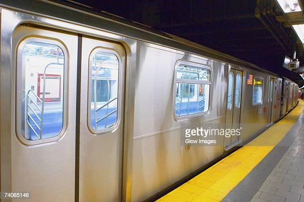 Subway train at a subway platform