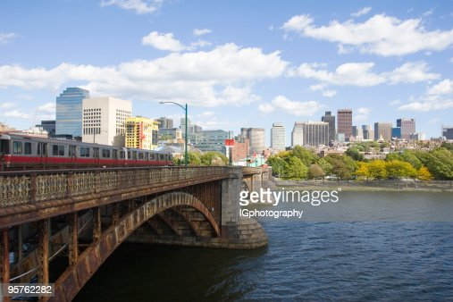 Subway Train Crossing Bridge Into Boston