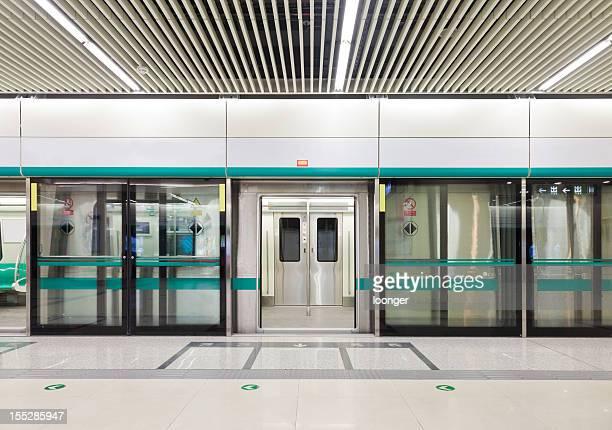 Subway train doors opened