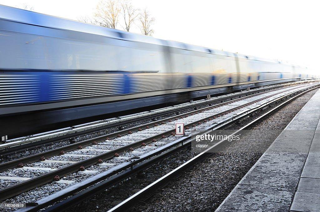 Subway train into bright white light
