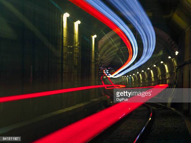Subway train light trails