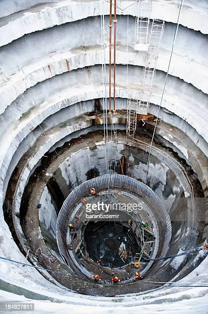 Subway, underground tunnel construction