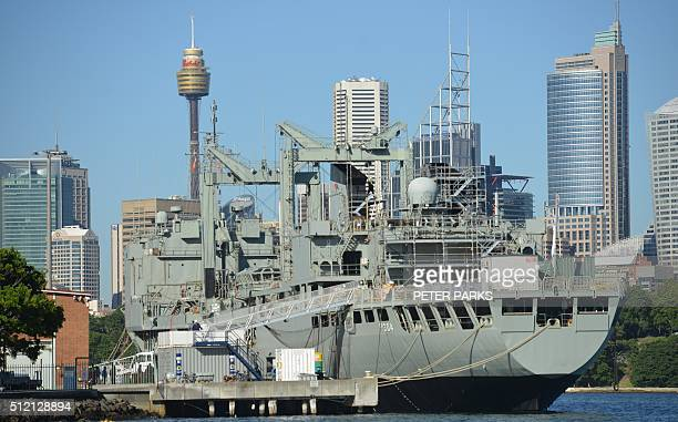 Success a Duranceclass multiproduct replenishment oiler serving in the Royal Australian Navy is seen moored at Garden Island naval base in Sydney on...
