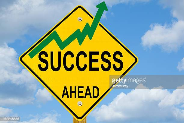 Success Ahead Sign With Growth Curve