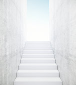 Concrete stairs leading to bright light. Success concept. 3D Rendering