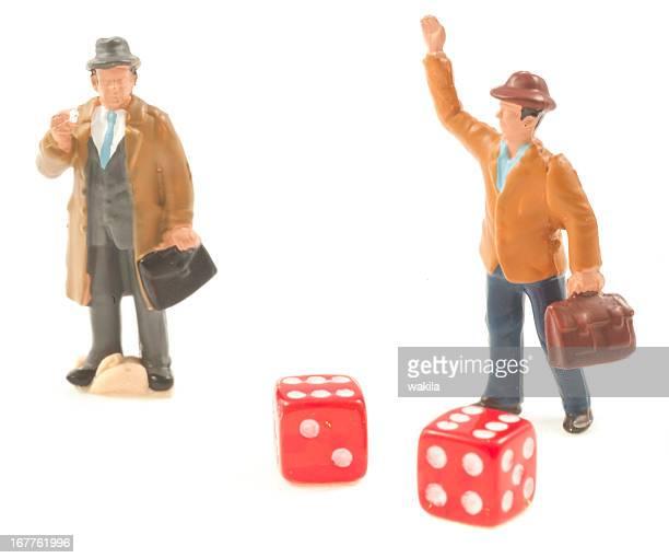 Erfolg Mann glücklich nach Glücksspiel mit dices