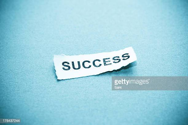 success text on curved paper