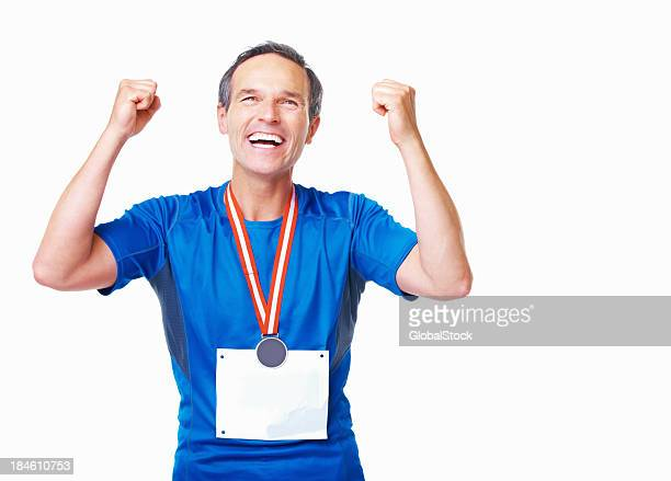 Successful athlete celebrating