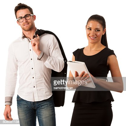 Successful business couple standing together coworker team : Stockfoto