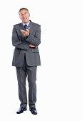 Successful business man conversing