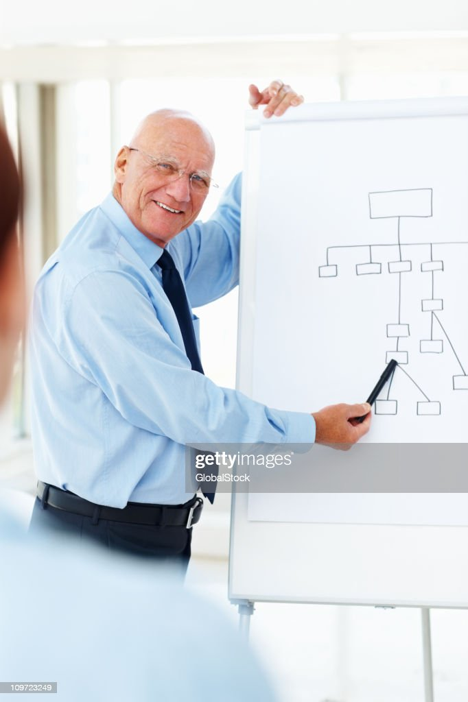 Successful business man pointing at whiteboard in office : Stock Photo