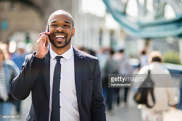 Successful business man smiling in London