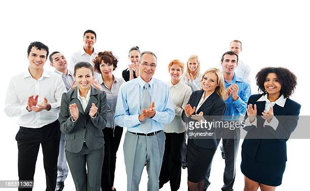 Successful Business People Applauding on a meeting.