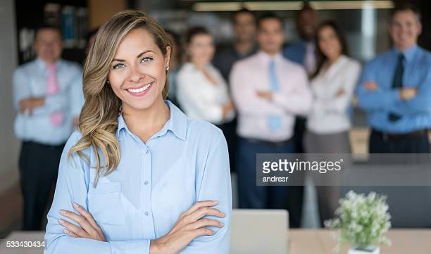 Successful business woman leading a group