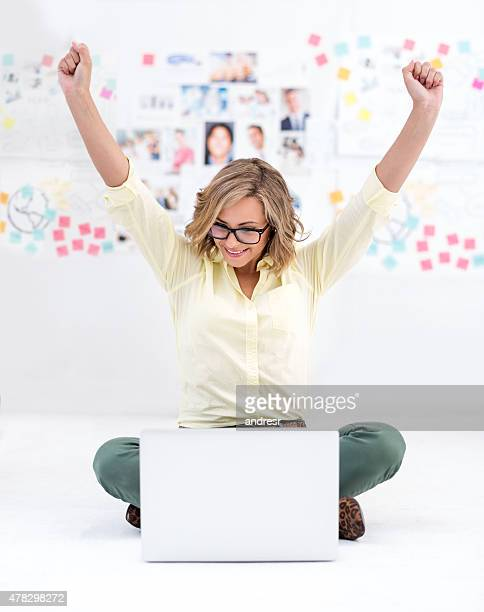 Successful business woman working online