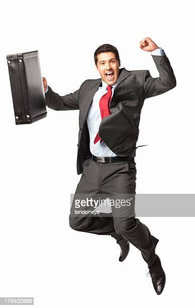Successful Businessman Jumping - Isolated
