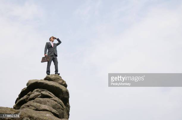 Successful Businessman Standing on Mountain Peak Looking Out