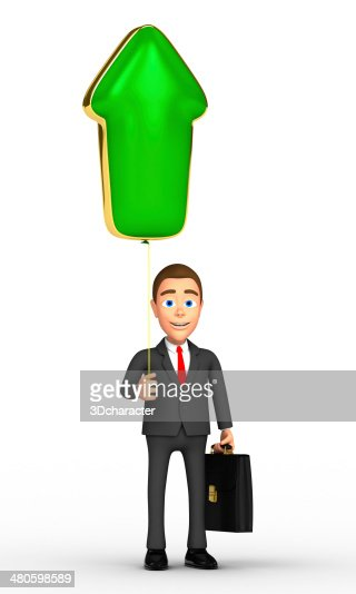 successful businessman with a green arrow : Stock Photo