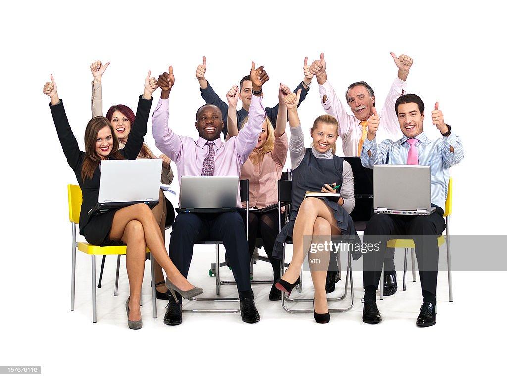Successful computer seminar : Stock Photo