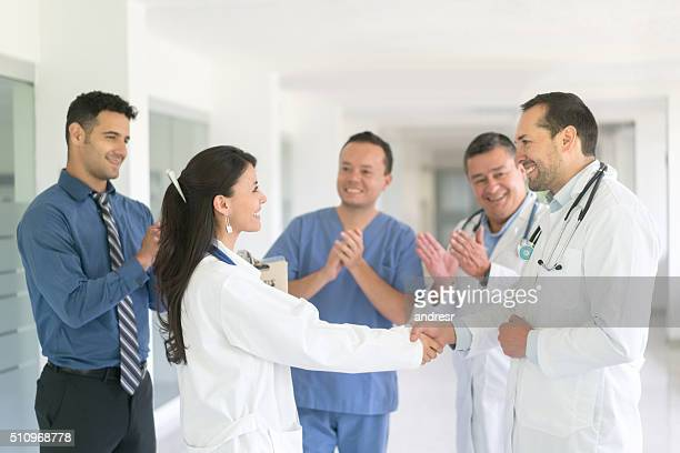 Successful doctor getting a promotion