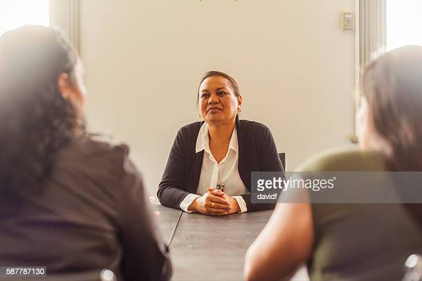 Successful Maori Pacific Islander Business Woman Leading a Team Meeting