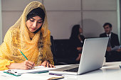 Successful Middle Eastern Muslim businesswoman working in office. International business success concept.