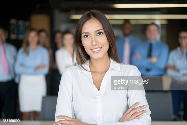 Successful woman leading a business group
