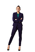 Full body portrait of successful young female business executive standing on white background