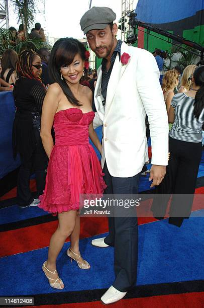 SuChin Pak MTV VJ and Santino Rice during 2006 MTV Movie Awards Red Carpet at Sony Studios in Culver City California United States