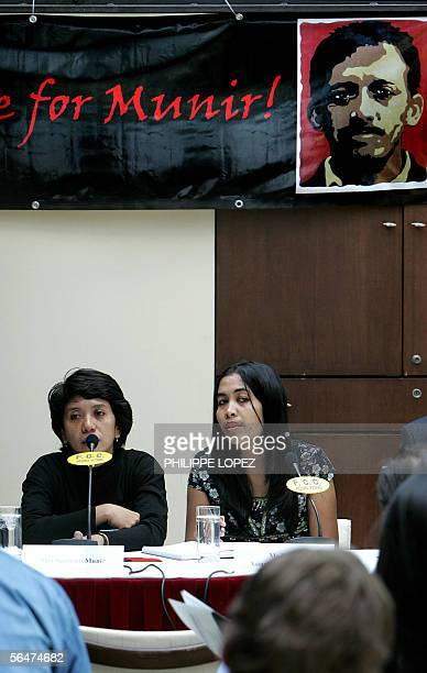 Suciwati Munir the wife of Indonesia's late leading rights activist Munir addresses a press conference in Hong Kong 28 November 2005 as Ms Nurul from...