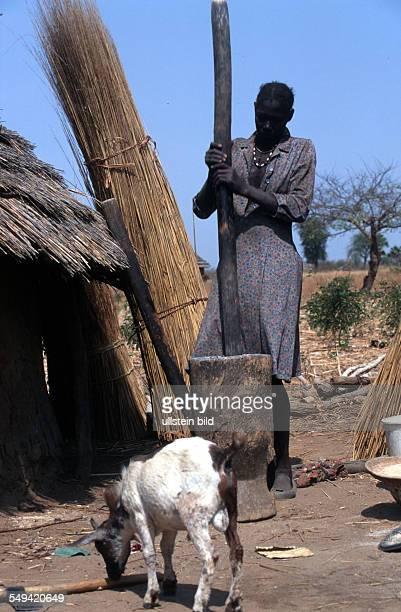Dinka women making lunch in Malwal Akon
