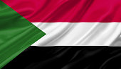 Sudan flag waving with the wind, 3D illustration.