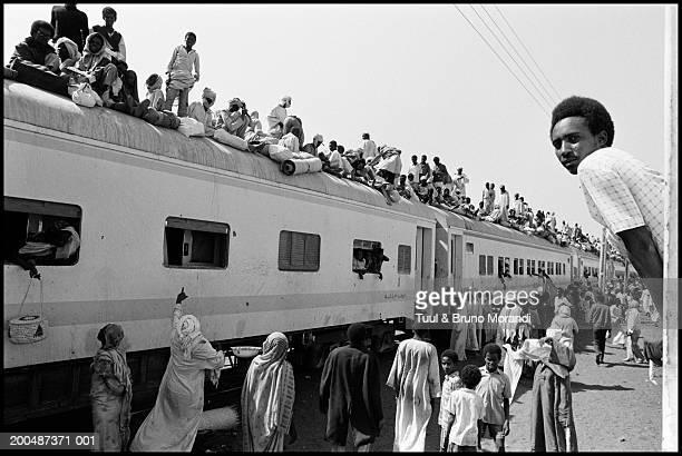 Sudan, passenger train for Al Ubayyid (B&W)
