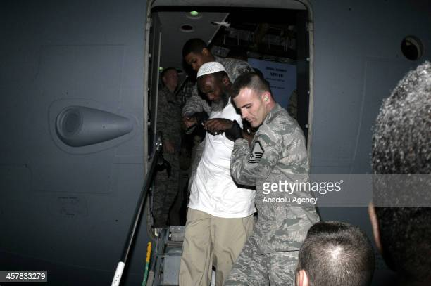 Sudanese detainee Noor Uthman Muhammed arrives in Khartoum after being released and repatriated from the Guantanomo to Sudan with a US Air Force...