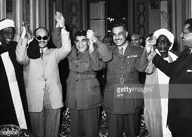Sudanese dignitaries congratulate first President of Egyptian Republic General Mohammed Neguib 02 February 1954 in Cairo along with Prime Minister...