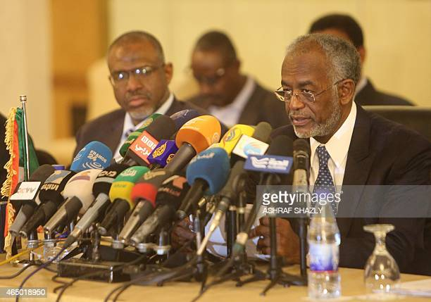 Sudanese Foreign Minister Ali Karti attends a press conferences on the sidelines of meetings in Khartoum on March 3 2015 between Sudan Egypt and...