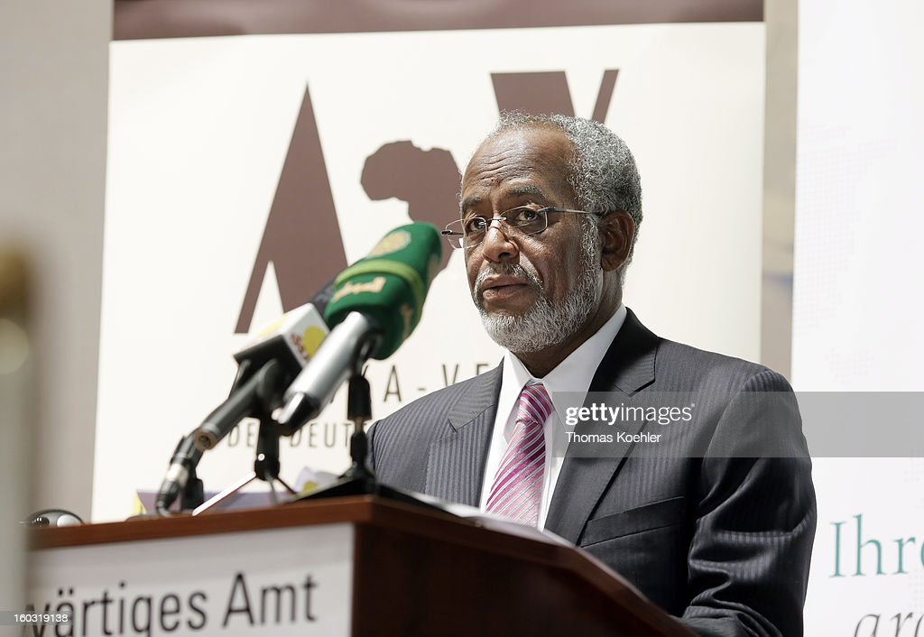 Sudanese Foreign Minister Ali Karti speaks on a German, Sudanese and South Sudanese trilateral business conference at the Federal Foreign Office on January 29, 2013 in Berlin, Germany. Their talks will focus on the peace process between Sudan and South Sudan.