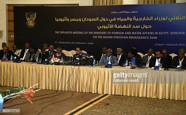 Sudanese Foreign Minister Ibrahim Ghandour speaks during a joint press conference with delegates from Egypt Ethiopia and Sudan following another...