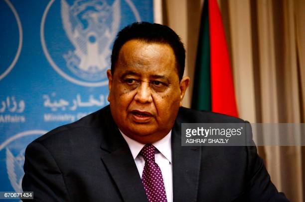 Sudanese Foreign Minister Ibrahim Ghandour speaks during a press conference with his Egyptian counterpart in Khartoum on April 20 2017 Relations...